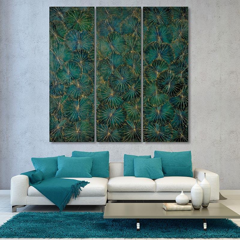 Wandbild mit Lotusblättern