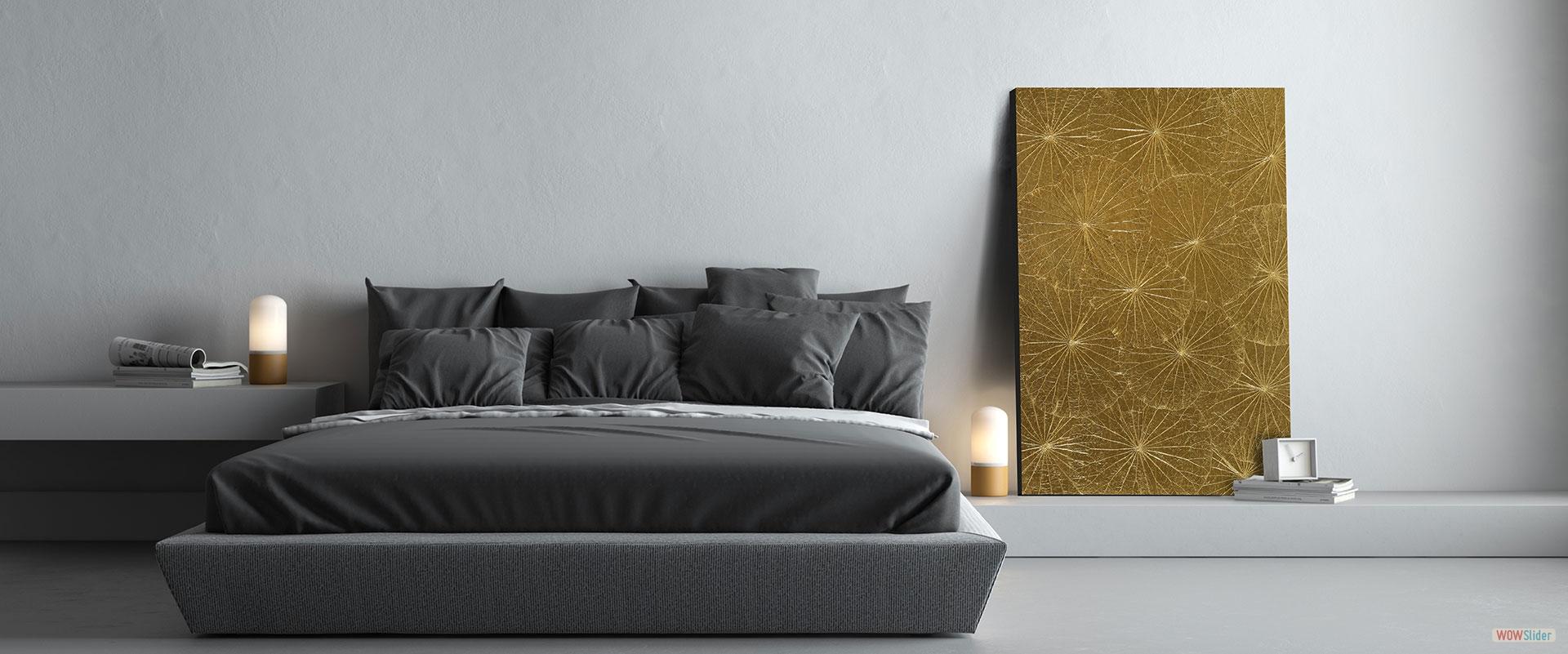Wandbild Lotus gold
