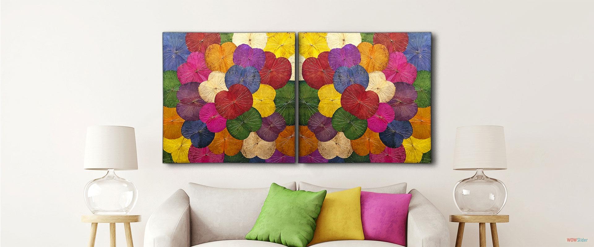 Wandbild Lotus multicolor